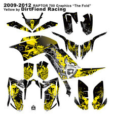 "Raptor 700 Graphics 09-12 DFR ""Fold"" Yellow Full Wrap Raptor700 ATV Decal Wrap"