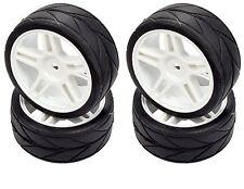 Apex RC Products 1/10 On-Road White Split 5 Spoke Wheels / V Tread Tires #5016