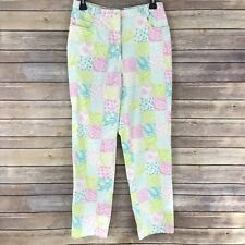 David Brooks Pink Blue Patchwork Capri Pants Womens Size 10 High Waist Straight