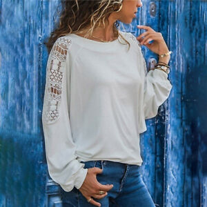 Women Casual Solid Long Sleeve T Shirt Crew Neck Hollow Blouse Loose Tunic Tops