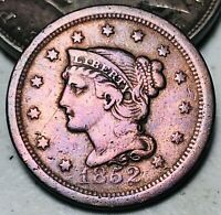 1852 Large Cent Matron Braided Hair 1C Higher Grade Detail US Copper Coin CC6177