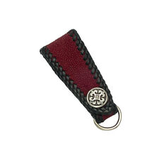Red Sting Ray Leather Art Deco Key Fob Cowhide Lacing and Stainless Fleur de Lis