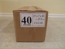 """Plastic Dry Cleaning Poly Bag Garment Bags 40"""" Clear 600 Bags"""