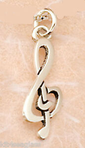 Far Fetched Jewelry Tiny MELODY CHARM or PENDANT Sterling Music Treble Clef