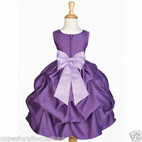 PURPLE PLUM WEDDING BRIDESMAID INFANT TODDLER PAGEANT DANCING FLOWER GIRL DRESS