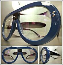 OVERSIZED CLASSIC VINTAGE RETRO Style Clear Lens EYE GLASSES Blue & Black Frame