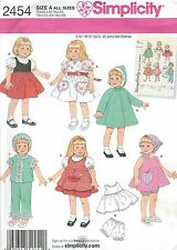 "Simplicity 2454 Doll Wardrobe for 16"" and 18""      Sewing Pattern"