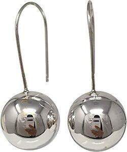 Women's 12mm 925 Sterling Silver Ball Fixed Hook Drop Earrings For Women