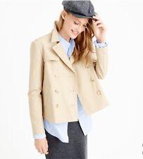 New JCREW Japanese Poplin Short Swing Trench Jacket Coat Women 2T Khaki Raincoat