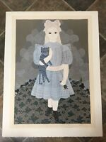"Patricia Barton Art Print 4/250 Signed Girl with Cat 19.5x25.5"" Naive Artist"