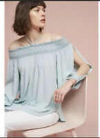 Holding Horses by Anthropologie Large Blue Rosario Off The Shoulder Top blouse