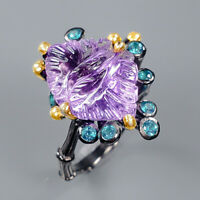 Amethyst Ring Silver 925 Sterling Very Beautiful Jewelry Size 8.5 /R139113