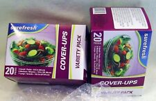 New listing 2 Surefresh Stretch Plastic Bowl/Cans Cover-Ups Small/Med/Lg 40 Reusable Covers