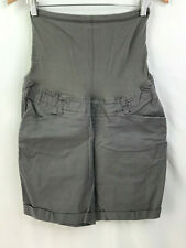 Duo Maternity Gray Shorts Size Small Cuffed Leg Belly Panel Front Pockets