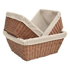 Wicker Storage Basket Cotton Lined Gift Hamper Kitchen Dining Bedroom