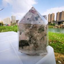 515g Natural Green Ghost Quartz Obelisk Crystal Wand point Healing