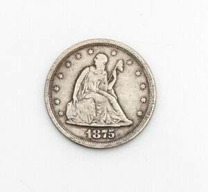 1875-S US SEATED LIBERTY TWENTY CENTS COIN 90% SILVER SAN FRANCISCO MINT #CB84-1