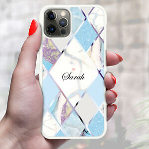 Personalised Marble Phone Case Cover For Apple Samsung Initial Name - Ref Z12