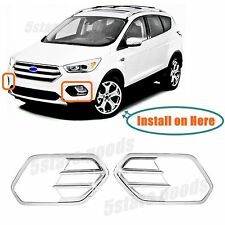 Accessories Chrome Pair Front Fog Light Covers For 2017 2018 Ford Escape Suv Fits