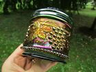 Northwood GRAPE & CABLE ANTIQUE CARNIVAL ART GLASS POWDER JAR~GREEN~BEAUTIFUL!