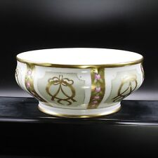 Faberge Gold, Enamel & Jeweled Serving Bowl Limoges Porcelain China 24k