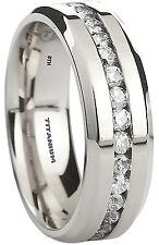 New Boxed Mens Created Diamonds Classic Titanium Wedding Engagement Band Ring