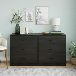 Mainstays Classic DW19388 6-Drawer Dresser - Black Oak