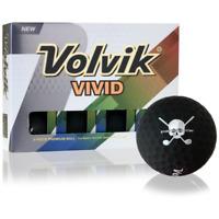 Volvik Vivid Matte Finish Golf Balls Black Jolly Rogers Skull Crossbones 12 New!