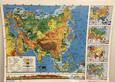 Nystrom Landscape Laminated Asia/Europe Desk Map 2-Sided Homeschool Classroom