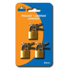 3 Small Metal Padlocks Mini Brass Tiny Box Locks Keyed Jewelry 2 Keys 20mm New !
