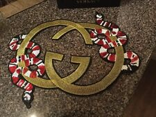 Iron On Embroidered Fashion Double G Patch Gold Red Snakes Sequin Large DIY