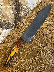 LOUIS MARTIN CUSTOM HANDMADE DAMASCUS FIXED BLADE HUNTING CHEF KNIFE HARD WOOD