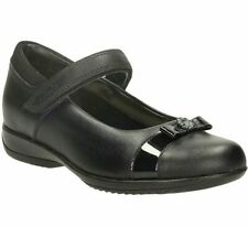 Taille UK 13-1 Clarks Filles DAISY Spark Gleam École Chaussures Noir Cuir verni