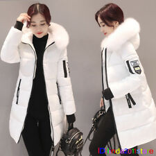 Fur Collar Hooded Coat Quilted Jacket Winter Warm Women's long Down Cotton Parka