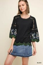 Umgee bLACK Floral Embroidered Bell Sleeve Keyhole Top SHIRT