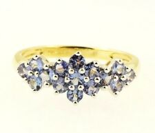 9Carat Yellow Gold Tanzanite Cluster Ring (Size Q) 9mm Widest