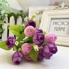 1 Bouquet 15 Heads Bridal Artificial Rose Silk Fake Flower Leaf Home Decor NEW