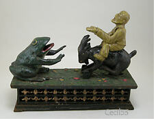 CAST IRON MECHANICAL BANK MAN ON GOAT FEEDS FROG COINS  - SHIPS FREE