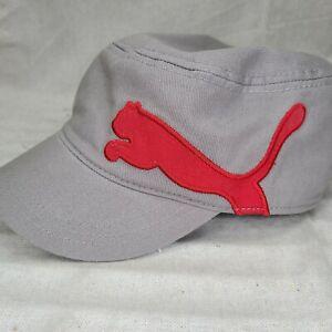 Puma Hat Flat Top Cap Red Logo Wool Cadet Military Trucker Retro Baseball Gray