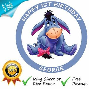 WINNIE THE POOH EEYORE ROUND EDIBLE BIRTHDAY PARTY CAKE TOPPER DECORATION