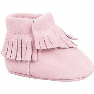 Baby Deer Pink Suede Moccasin Crawling Shoes with Fringe Trim  Size 0 1 2 3