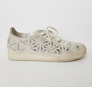 ADIDAS Off White Gazelle Laser Cut Out Suede Leather Lace-Up Trainers UK7 US9