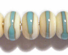 IVORY TURQUOISE Rondelles Handmade Glass Lampwork BEADS Ivory Blue Wrap set of 6