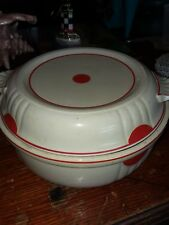 Vintage covered Bean Pot Casserole White and Red Nice condition