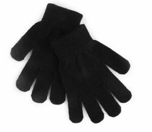 New Men's Women's Plain Black Stretch Fit Classic One Size Fits All Magic Gloves