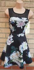 IZABEL BLACK WHITE FLORAL MESH SLEEVELESS SKATER PROM SUMMER TEA DRESS 10 S