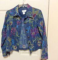 Coldwater Creek Denim Jean Jacket w/Artsy Stitch Embroidery Button Closure Sz PS