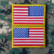 USA AMERICAN FLAG REVERSE LEFT RIGHT ARMY SHOULDER FULL COLOR HOOK 2 PATCH SET