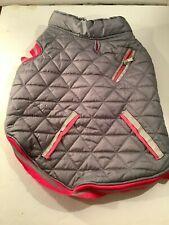 Dog Winter Coat Vest Puff Jacket Lined Size Large Gray Pink