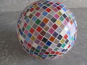 Mosaik Kugel in bunt handgefertigt beleuchtet wetterfest UNIKAT ca 58 cm gesamt